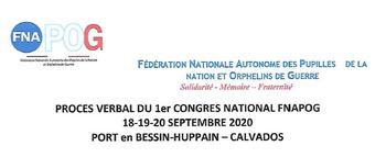 Procès verbal du 1er congrès National FNAPOG 18-19-20 septembre 2020