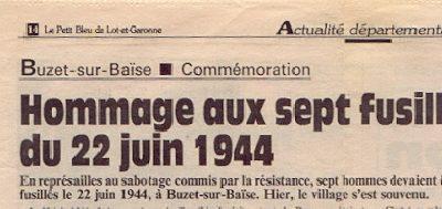 Un épisode tragique de la vie Buzéquaise : La Fusillade du 22 Juin 1944.