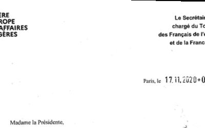 Réponse de Mr LEMOYNE  Sénateur de l'Yonne et secrétaire d'Etat